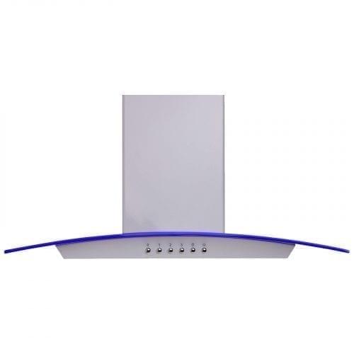 SIA 70cm 3 Colour LED Edge Lit Curved Glass White Cooker Hood + 1m Ducting Kit