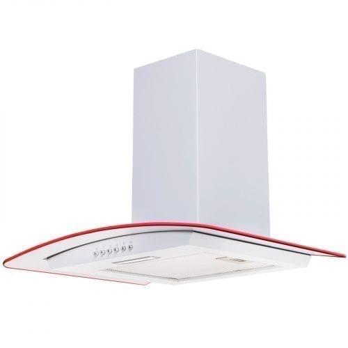 SIA 70cm 3 Colour LED Edge Lit Curved Glass White Cooker Hood + 3m Ducting Kit