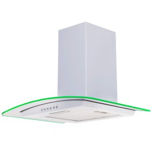 SIA 70cm White LED Edge Lit Curved Glass Cooker Hood Extractor And Carbon Filter