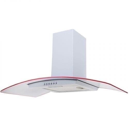 SIA 90cm 3 Colour LED Edge Lit Curved Glass White Cooker Hood + 3m Ducting Kit