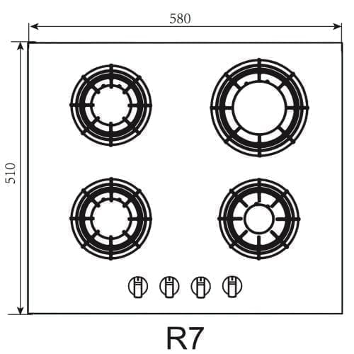 SIA R7 60cm 4 Burner Black Gas On Glass Hob With LPG Kit & Cast Iron Pan Stands
