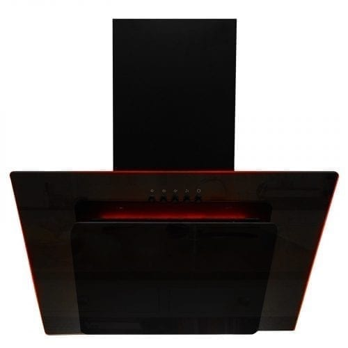 SIA AGE61BL 60cm Black Angled 3 Colour Edge Lit Cooker Hood Extractor Fan