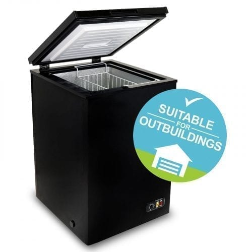 SIA CHE100BL 54cm Freestanding Black 104L Chest Freezer A+ Energy Rating