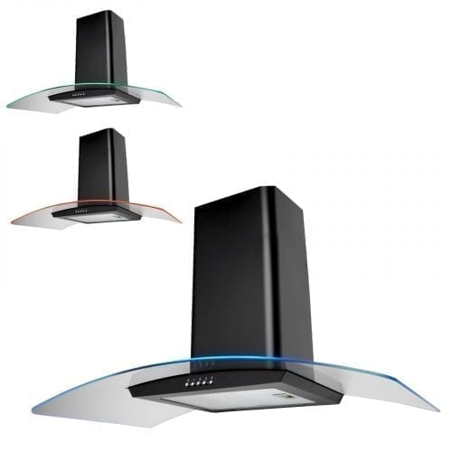 SIA CPE101BL 100cm 3 Colour LED Curved Glass Black Cooker Hood Extractor Fan