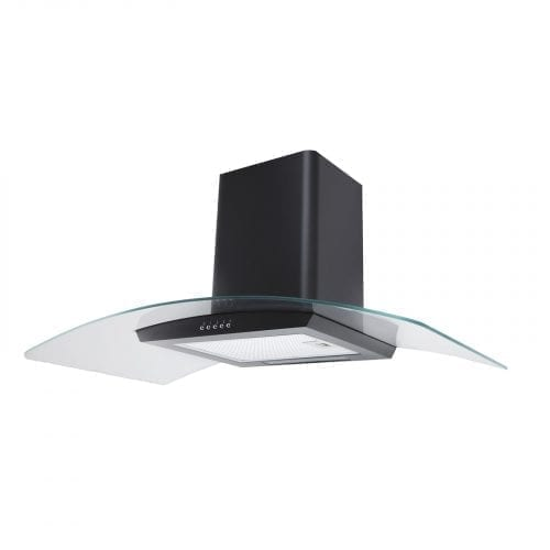 SIA CPE101BL 100cm Black 3 Colour LED Curved Glass Cooker Hood Extractor Fan