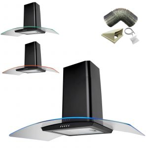 SIA CPE101BL 100cm Black 3 Colour LED Cooker Hood Extractor Fan & 1m Ducting Kit