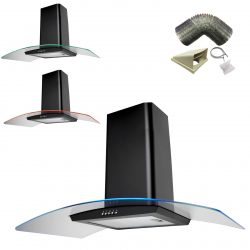 SIA CPE101BL 100cm Black 3 Colour LED Cooker Hood Extractor Fan & 3m Ducting Kit