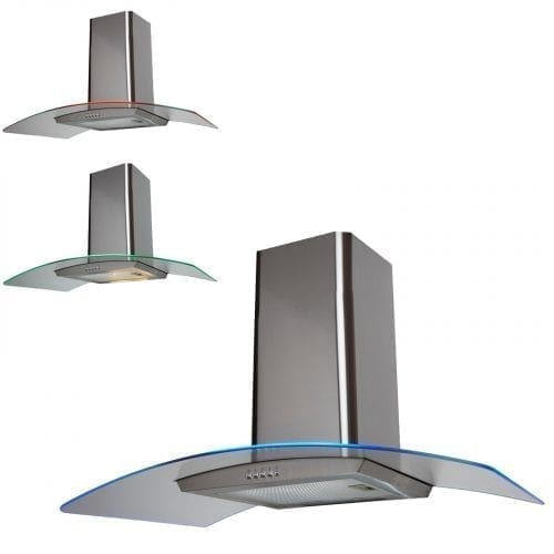 SIA CPE101SS 100cm 3 Colour LED Curved Glass St/Steel Cooker Hood Extractor Fan