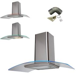 SIA 100cm Stainless Steel 3 Colour LED Edge Cooker Hood Fan And 1m Ducting Kit