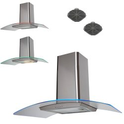SIA 100cm Stainless Steel 3 Colour LED Edge Cooker Hood Fan And Carbon Filters