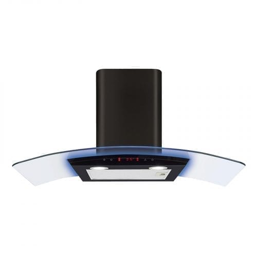 CDA EKP90BL 90cm Multi Colour LED Curved Glass Black Cooker Hood