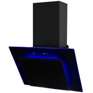 SIA 70cm 3 Colour LED Edge Lit Touch Control Black Cooker Hood + 3m Ducting