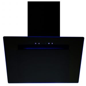 SIA 70cm 3 Colour LED Edge Lit Touch Control Angled Black Glass Cooker Hood
