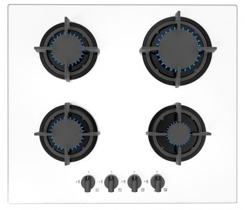 SIA GHG603WH 60cm Ice White 4 Burner Gas On Glass Hob | LPG KIT | IRON SUPPORTS