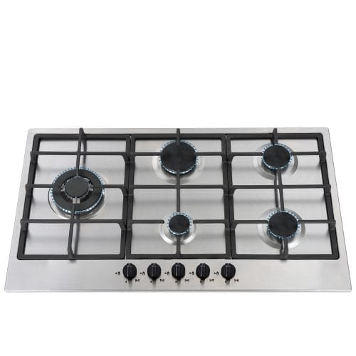 SIA 90cm 5 Burner Gas Hob in Stainless Steel | Wok Burner | LPG Jets | Cast Iron