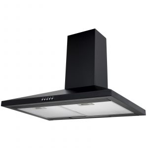 SIA CHL61BL 60cm Black Chimney Cooker Hood Extractor Fan And 1m Ducting Kit