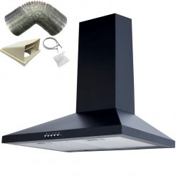 SIA CHL61BL 60cm Black Chimney Cooker Hood Extractor Fan And 3m Ducting Kit
