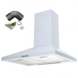 SIA CHL61WH 60cm White Chimney Cooker Hood Kitchen Extractor Fan And 1m Ducting