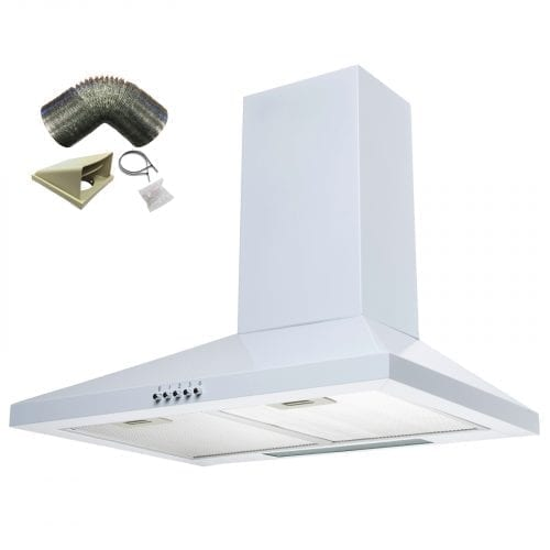 SIA CHL61WH 60cm Chimney Cooker Hood Kitchen Extractor Fan in White + 3m Ducting