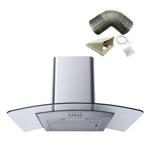 SIA CPL61SS 60cm Curved Glass Stainless Steel Cooker Hood + 3m Ducting Kit