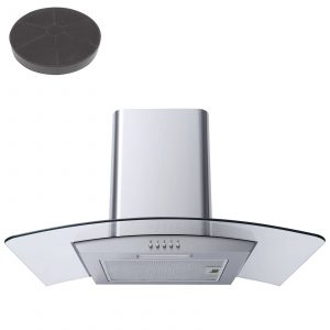 SIA CPL61SS 60cm Curved Glass Stainless Steel Cooker Hood + Recirculation Filter