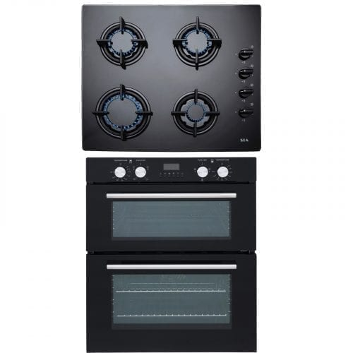 SIA Built Under Double Electric Fan Oven & 60cm 4 Burner Black Gas Glass Hob