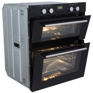 SIA Built Under Electric Double Oven, 60cm Black Gas Hob & Angled Cooker Hood