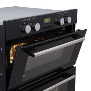SIA Built Under Electric Double Oven, Curved Cooker Hood & 60cm Black Gas Hob