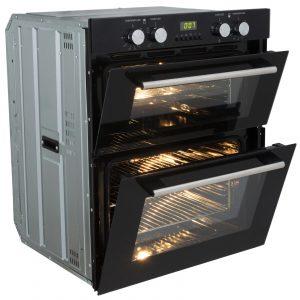 SIA Built Under Double Electric Fan Oven & 70cm Black 5 Burner Gas On Glass Hob
