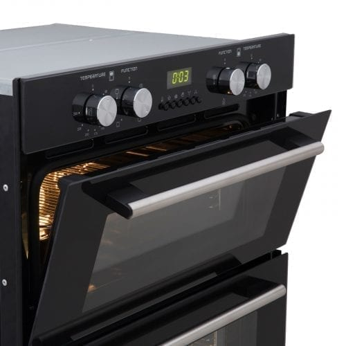 SIA Built Under Double Electric Fan Oven & 70cm Black 5 Burner Gas on Glass Hob