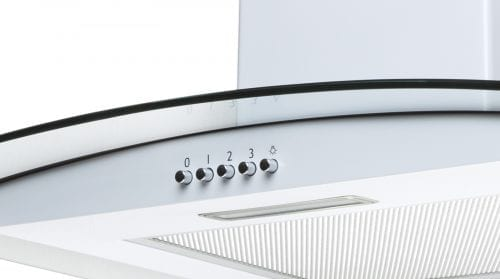 SIA CPL71WH 70cm Curved Glass White Chimney Cooker Hood Kitchen Extractor Fan