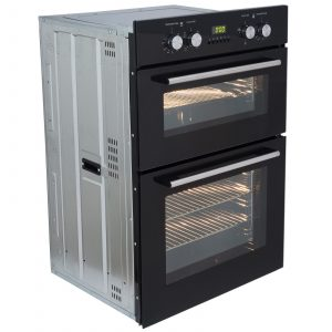 SIA 60cm Built In Double Electric Fan Oven & 4 Burner Black Gas On Glass Hob