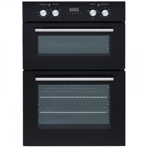 SIA Built In Double Electric Fan Oven & 60cm 4 Burner Black Gas on Glass Hob