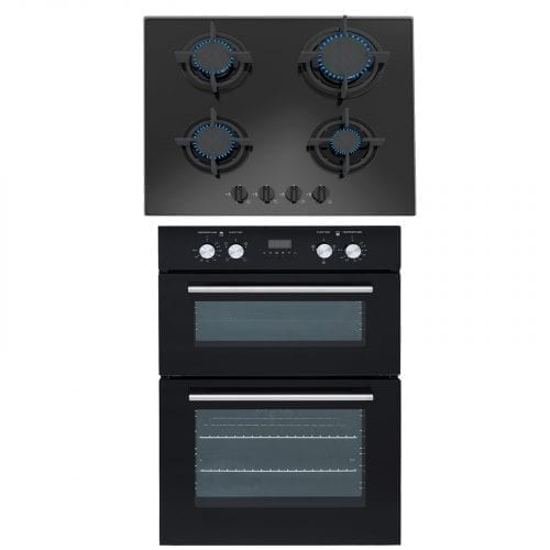 SIA 60cm Black Built In Double Electric Fan Oven & 4 Burner Gas On Glass Hob