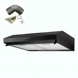 SIA V50BL 50cm Black Slimline Visor Cooker Hood Extractor Fan And 1m Ducting Kit