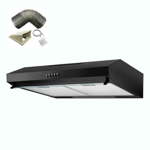 SIA V50BL 50cm Black Slim Visor Cooker Hood Kitchen Extractor Fan + 1m Ducting