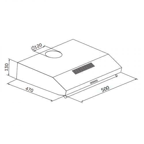 SIA V50BL 50cm Black Slim Visor Cooker Hood Kitchen Extractor Fan + 3m Ducting