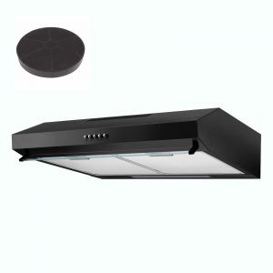 SIA V50BL 50cm Black Slimline Visor Cooker Hood Extractor Fan And Carbon Filter
