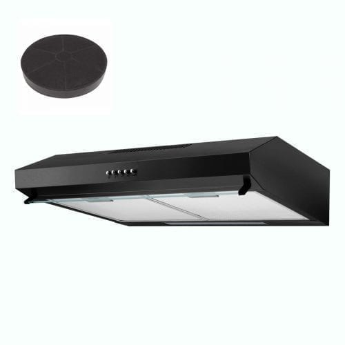 SIA V50BL 50cm Black Slim Visor Cooker Hood Kitchen Extractor + Charcoal Filter