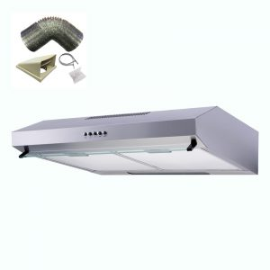 SIA V50SS 50cm Stainless Steel Visor Cooker Hood Extractor Fan And 1m Ducting