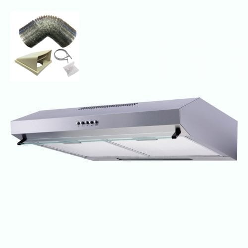 SIA V50SS 50cm Stainless Steel Visor Cooker Hood Kitchen Extractor + 1m Ducting