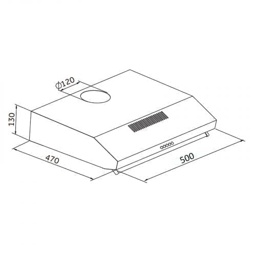 SIA V50SS 50cm Stainless Steel Visor Cooker Hood Extractor + Charcoal Filter
