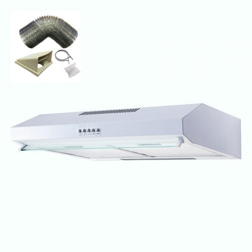 SIA V50WH 50cm White Slimline Visor Cooker Hood Extractor Fan And 3m Ducting Kit