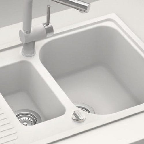 Schock Lithos D150 1.5 Bowl White Granite Kitchen Sink & Waste | Reversible