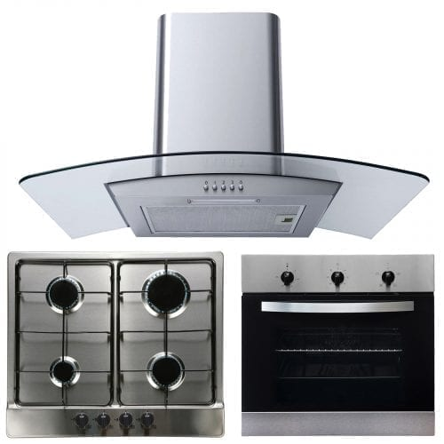 SIA 60cm Single Electric Fan Oven, 4 Burner Gas Hob & Curved Glass Cooker Hood