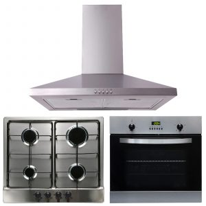 SIA 60cm Electric Single Fan Oven, 4 Burner Gas Hob & Curved Glass Cooker Hood