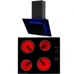 SIA 60cm Black Touch Control Ceramic Hob & Coloured LED Angled Glass Cooker Hood