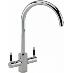 Reginox Genesis Chrome Swan Neck Dual Lever Kitchen Mixer Tap With Black Handles