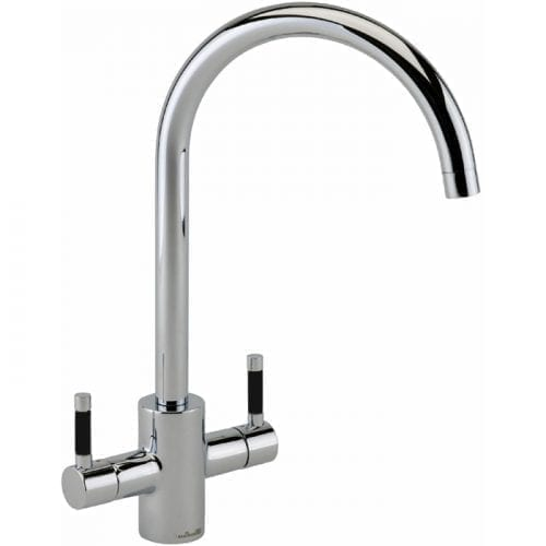 Reginox Genesis Swan Neck Chrome Lever Kitchen Monobloc Tap With Black Handles