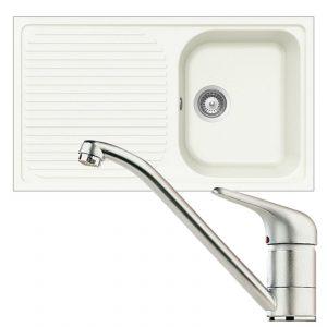 Schock Lithos D100 1.0 Bowl White Granite Kitchen Sink & Clearwater Creta Tap